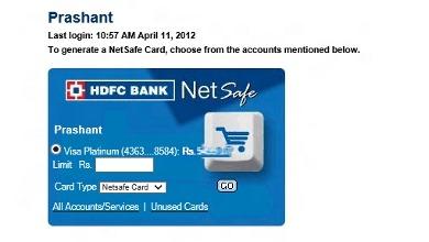 HDFC NetSafe - Alternative Credit Card Online