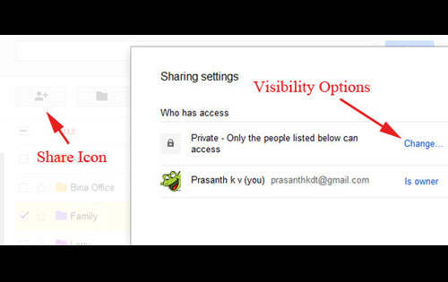Visibility Option Setting in Google Drive