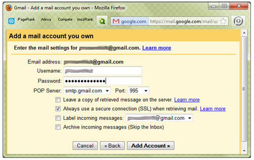 Mail Fetcher Gmail ID setup for another Gmail account