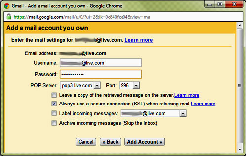 Mail Fetcher Live ID setup for Hotmail