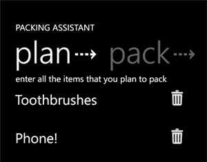 packing assistant windows phone app for travellers