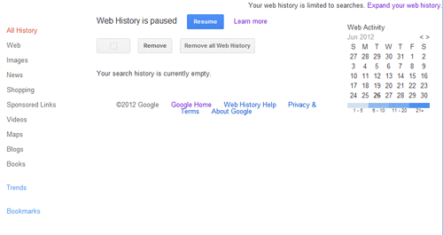 Google Web History Off