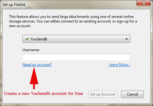 Setup YouSendIt on Thunderbird