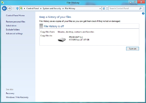 Windows 8 Auto Back Up Feature File History