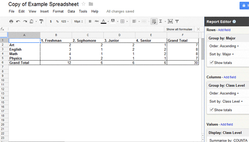 how to create pivot table report in Google Spreadsheet - Step 3