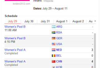 Get Detailed London Olympic Date Wise Schedule Right on Google Search