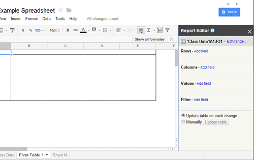 how to create pivot table report in Google Spreadsheet - Step 1