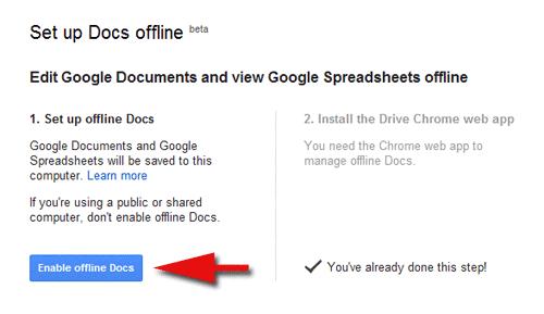 Set up Docs Offline on Google Drive