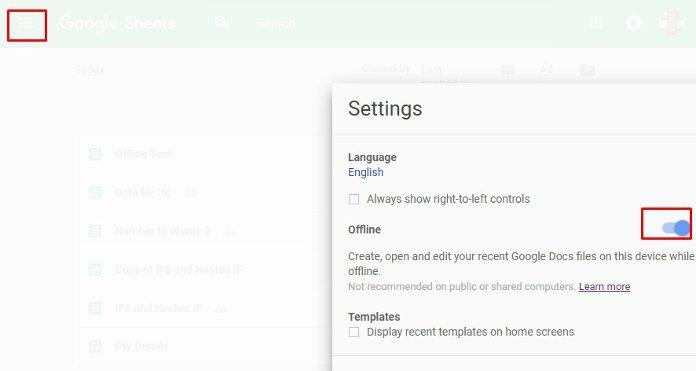 enable Google Sheets Offline Mode in settings