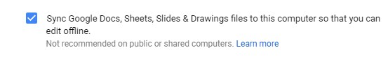 Offline mode sync settings in Google Drive
