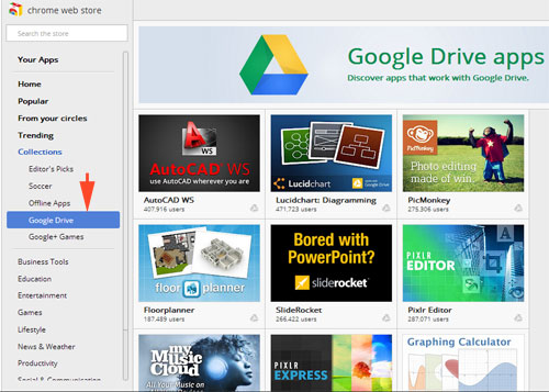 find google drive apps in chrome web store