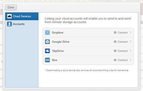 manage cloud storage in Gmail
