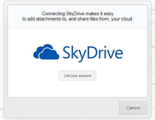 Link SkyDrive with Gmail using Attachments.me plugin