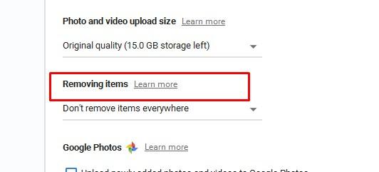 removing items setting google drive