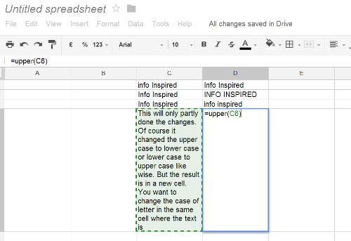 change text to upper, lower or sentence case Google doc spreadsheet