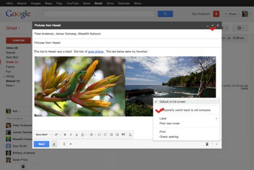 New Gmail Compose Window