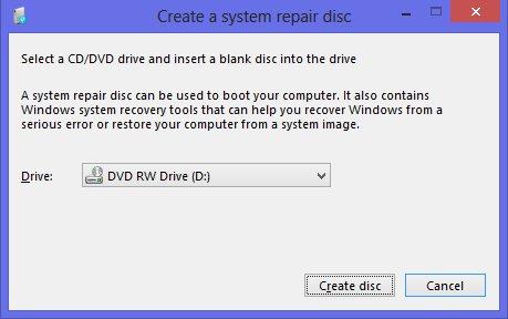 create a system repair disk in Windows 8