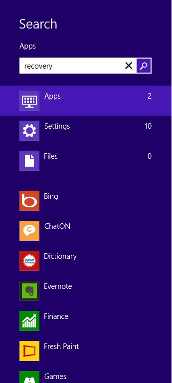 recovery settings windows 8