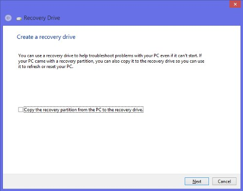 create a Windows 8 recovery disk