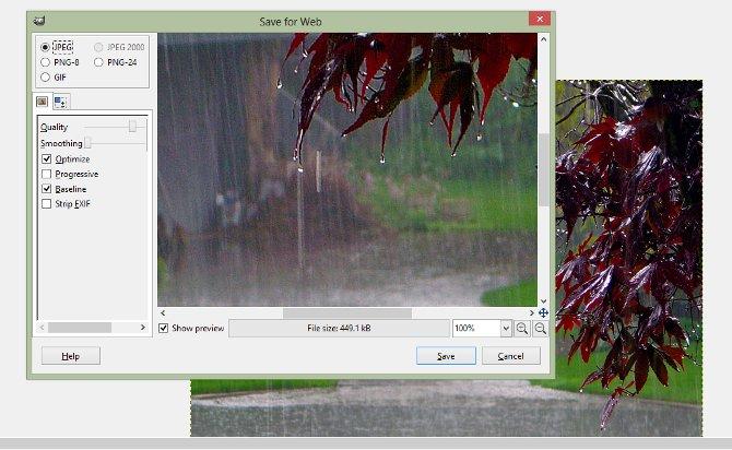 Save for Web GIMP
