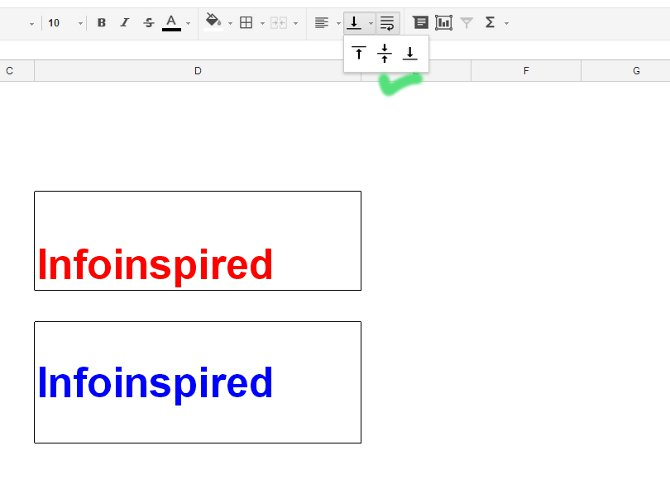 vertical alignment of text in Google Doc Spreadsheet