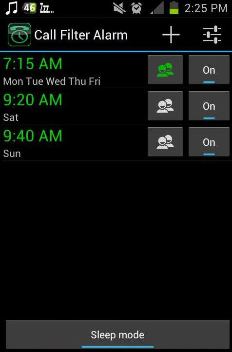 call filter alarm