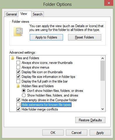folder options view