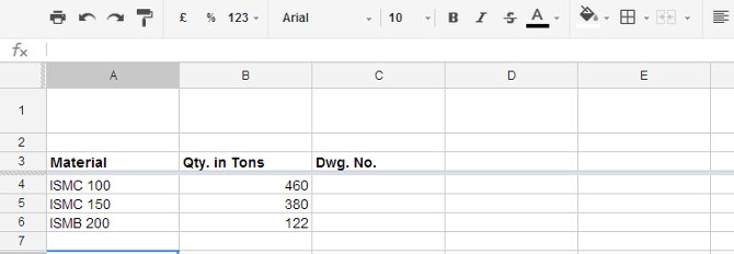 titles in spreadsheet