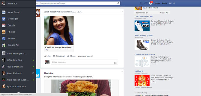 Facebook new news feed with black sidebar