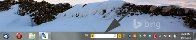 Bing Search on Windows Taskbar