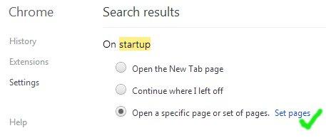 Set Page on Chrome