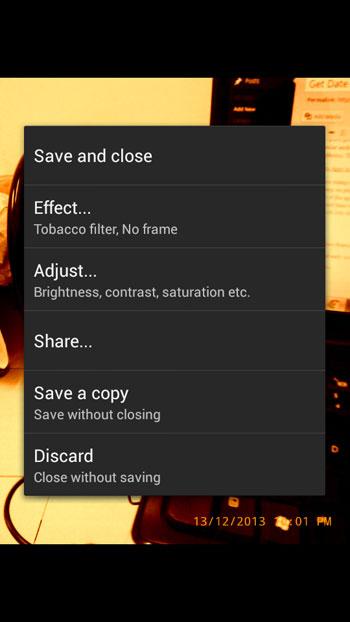 Vignette camera app preview screen