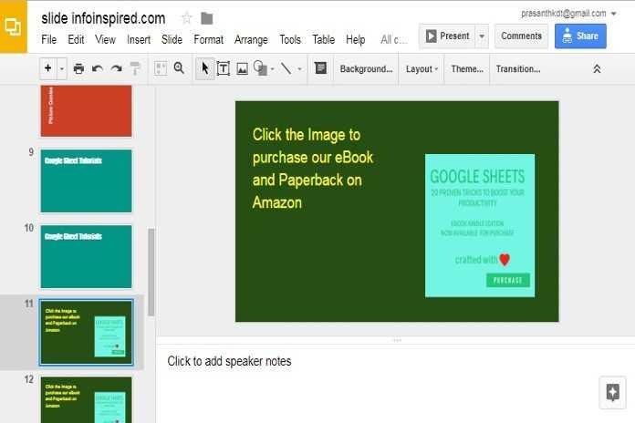 increase slide transition timing in Google Slides