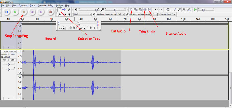 Audacity basic required tools for recording and editing