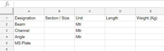 steel data for unit calculator