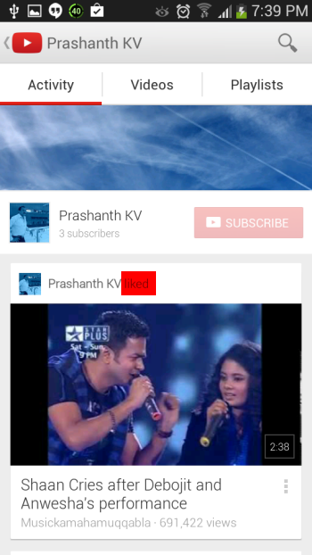 liked videos in YouTube android app