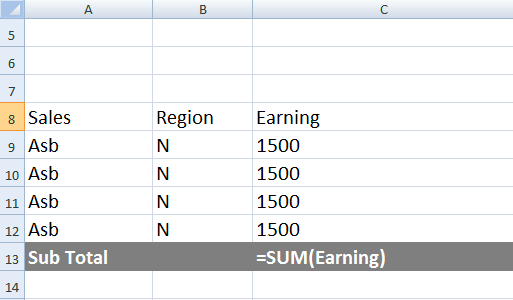 name range in Excel