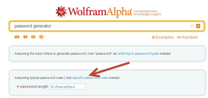 specific password rule of wolfram alpha