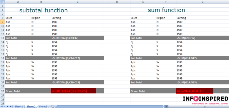subtotal - sum comparison for daily excel users
