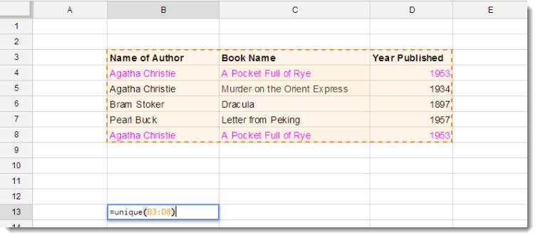 unique function in Google Doc Spreadsheet