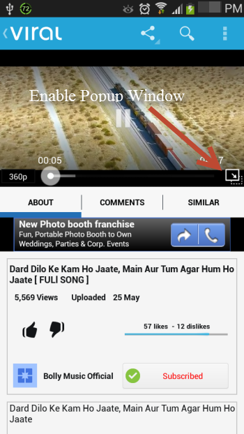 Enable YouTube Popup Using Viral Video Player