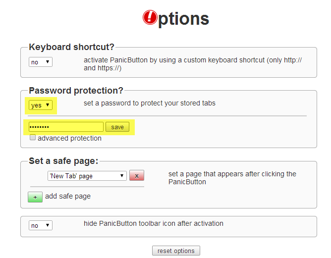 use panic button to password protect Chrome