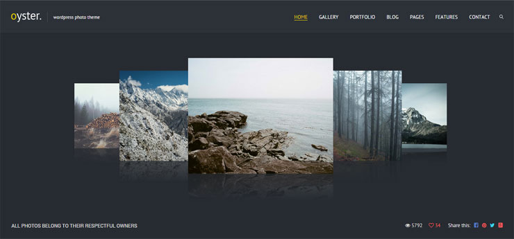 oyster paid best wp photography theme