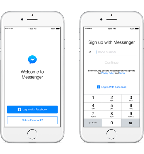 sign up to Messenger without FB