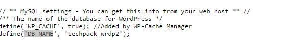 database name in cPanel