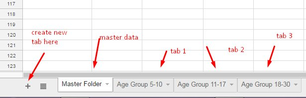 new tabs to move filtered data in google sheets