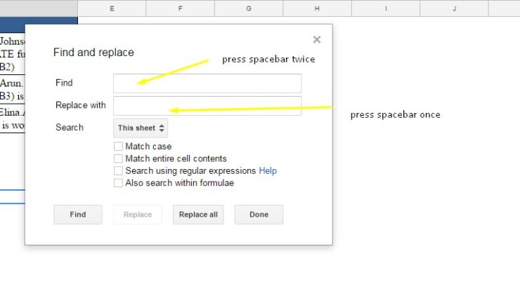 find command to remove extra space in Google Sheets