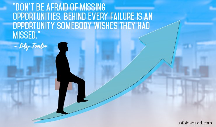 Success Motivation - Don't be afraid of missing opportunities. Behind every failure is an opportunity somebody wishes they had missed
