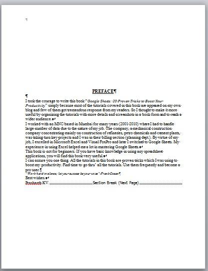 Create Kindle eBook preface page