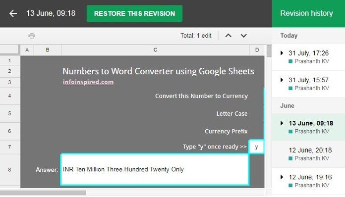 Revert Back to a Previous Version of Google Spreadsheet File Image